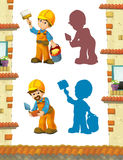 Cartoon scene with construction workers doing some jobs. Beautiful and colorful illustration for the children - for different usage - for fairy tales royalty free illustration