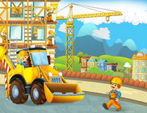 Cartoon scene with construction workers - excavator - illustration for the children Royalty Free Stock Photos