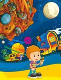 Cartoon scene of cosmos city - cartoon happy boy - ufo Stock Image
