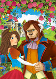 Cartoon scene of couple standing in the garden - princess and some not human prince or king. Beautiful and colorful illustration for the children - for different stock illustration