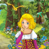Cartoon scene with cute princes in the forest - beautiful manga girl Royalty Free Stock Photography