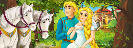 Cartoon scene with cute royal charming couple on the meadow - beautiful manga girl Stock Image