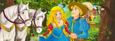 Cartoon scene with cute royal charming couple on the meadow - beautiful manga girl Stock Photos