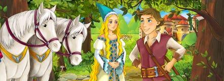 Cartoon scene with cute royal charming couple on the meadow - beautiful manga girl Stock Photo