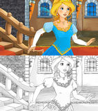 Cartoon scene for different fairy tales - with additional coloring page - beautiful lady is running out of stairs in the castle Royalty Free Stock Image