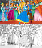 Cartoon scene for different fairy tales - with additional coloring page - loving couple is dancing in the ballroom Stock Photos