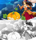 Cartoon scene for different fairy tales - good witch casting spell on pumpkin Stock Image