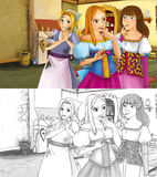 Cartoon scene for different fairy tales - prince is talking to the mother of two daughters - with additional coloring page. Colorful and beautiful illustration Royalty Free Stock Photography