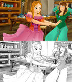 Cartoon scene for different fairy tales - two sisters are nervous and worried - with additional coloring page. Colorful and beautiful illustration for the Stock Photography
