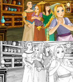 Cartoon scene for different fairy tales - two sisters are talking and plotting with mother - with additional coloring page Stock Image