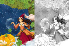 Cartoon scene for different fairy tales - young beautiful sorceress casting spell - beautiful manga girl - with coloring page Stock Photos
