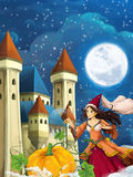 Cartoon scene for different fairy tales - young beautiful sorceress casting spell Stock Photos