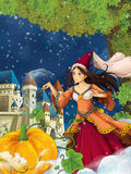 Cartoon scene for different fairy tales - young beautiful sorceress casting spell Royalty Free Stock Photos