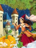 Cartoon scene for different fairy tales - young beautiful sorceress casting spell Stock Image