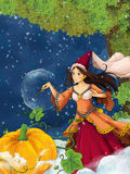 Cartoon scene for different fairy tales - young beautiful sorceress casting spell Stock Photo