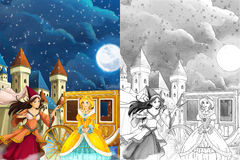 Cartoon scene for different fairy tales - young girl beautifully dressed going to some ball - beautiful manga girl Stock Photos