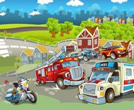 Cartoon scene with different public duty vehicles. Beautiful and colorful illustration for children Stock Images