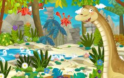 Cartoon scene with dinosaur diplodocus in the jungle near the river and volcano in the background royalty free illustration
