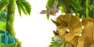 Cartoon scene with dinosaur triceratops and flying dinosaur - frame for different usage. Illustration for children vector illustration
