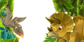 Cartoon scene with dinosaur triceratops and flying dinosaur - frame for different usage. Illustration for children royalty free illustration