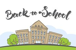 Cartoon scene with doodle school building and handwritten lettering. Vector illustration: Cartoon scene with doodle school building and handwritten lettering Stock Photography