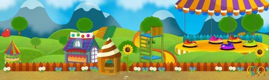Cartoon scene of empty playground stock illustration