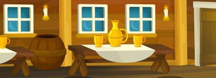 Cartoon scene of empty tavern room Royalty Free Stock Photography