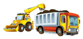Cartoon scene with excavator loading soil on a truck - worker in the window of a car - on white background. Beautiful and colorful illustration for children for Stock Image