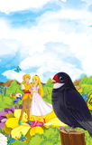 Cartoon scene of fairy prince and princes or king and queen and a cuckoo bird Stock Photography