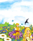 Cartoon scene of fairy prince and princes or king and queen and a cuckoo bird Royalty Free Stock Photo