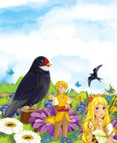 Cartoon scene of fairy prince and princes or king and queen and a cuckoo bird Royalty Free Stock Photography