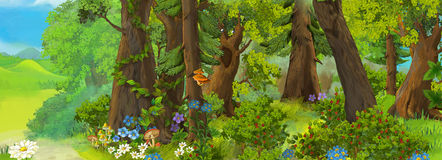 Cartoon scene for fairy tales - forest. Beautiful and colorful illustration for the children vector illustration