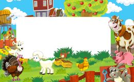 Cartoon scene with farm animals - frame for different usage Stock Photo