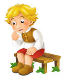 Cartoon scene with farm boy sitting on the bench and thinking - isolated Royalty Free Stock Image