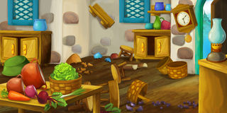 Cartoon scene of farm house - for different fairy tales. Happy and funny traditional illustration for children - scene for different usage Stock Photography
