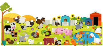 Cartoon scene with farm ranch animals in the forest