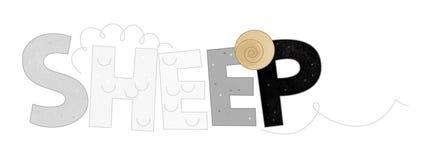 Cartoon scene with farm sheep sign of animal name on white background royalty free illustration