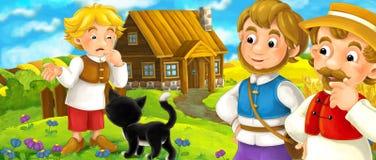 Cartoon scene with farmers family - beautiful farm scene Stock Photos