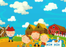 Cartoon scene with farmers family - beautiful farm scene Royalty Free Stock Image
