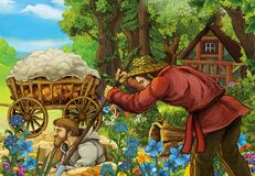 Cartoon scene with farmers in the forest near home - illustration. For children