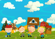 Cartoon scene with farmers in the village. Cartoon scene for different fairy tales - illustration for children Stock Photos