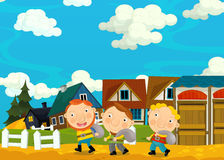 Cartoon scene with farmers in the village Stock Photography
