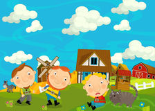 Cartoon scene with farmers in the village Stock Photos