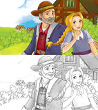 Cartoon scene with father and daughter in the village - with coloring page Royalty Free Stock Images