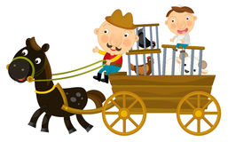 Cartoon scene of father and son riding wooden wagon with hens in cages - isolated Royalty Free Stock Photo