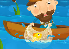 Cartoon scene of a fisherman catching fish Stock Photography