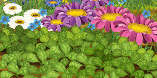 Cartoon scene of flowers Royalty Free Stock Images