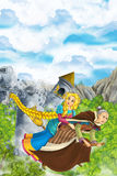 Cartoon scene of a with flying on a broomstick with young girl - in background collapsing medieval tower - beautiful manga girl Royalty Free Stock Images