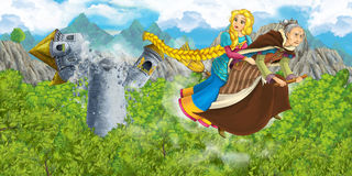Cartoon scene of a with flying on a broomstick with young girl - in background collapsing medieval tower Stock Photography
