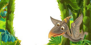 Cartoon scene with flying dinosaur pterodactyl - frame for different usage. Illustration for children vector illustration